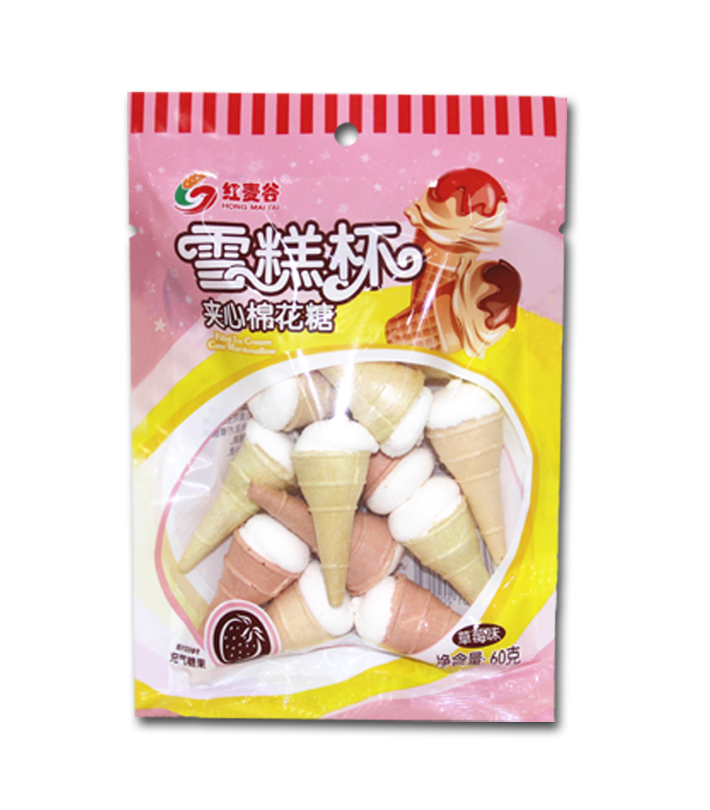 红麦谷60克雪糕杯棉花糖草莓味